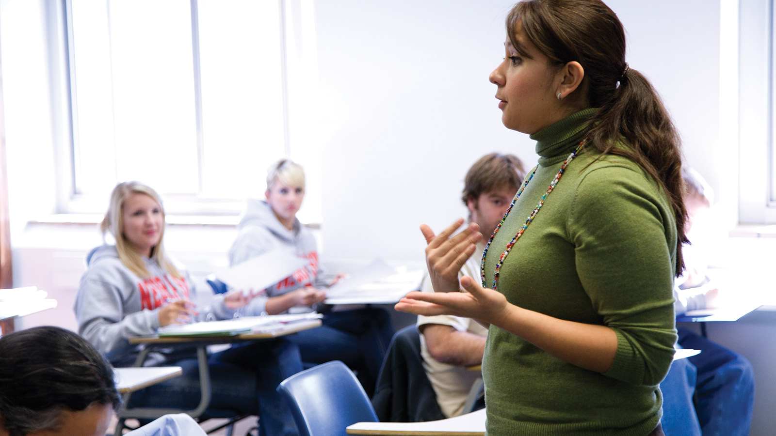 Photo of Student delivering speech in classroom